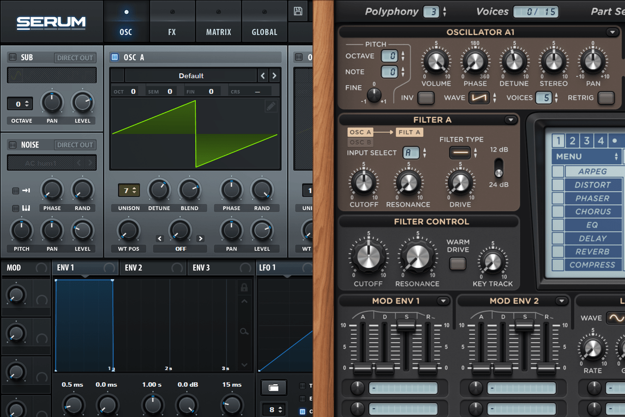 A view of the part with a detune button of the Lennar Digital Sylenth 1 and Xfer Records Serum synthesizers
