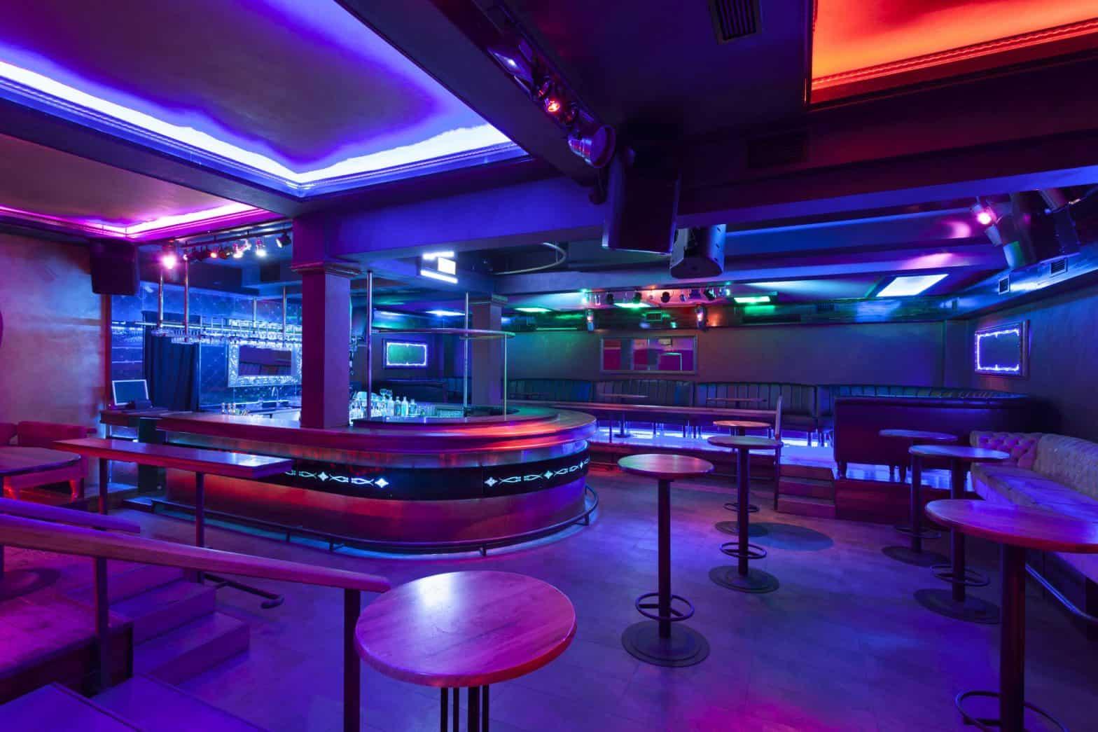 Nightclub with colorful lights