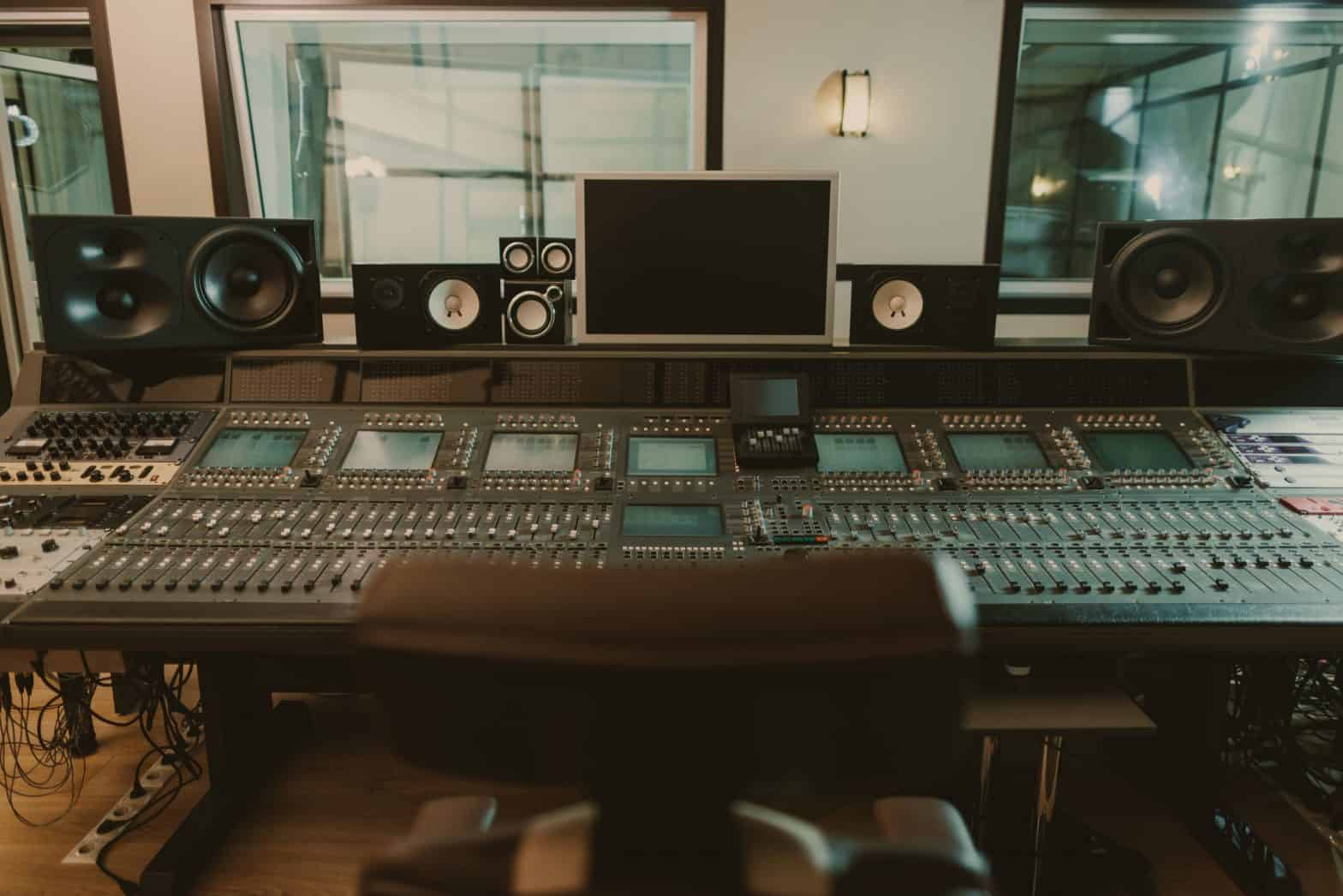 view of sound-producing equipment at a recording studio